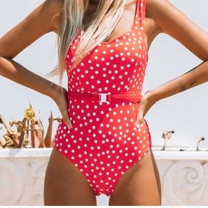 NWT CUPSHE red and white polka dot swimsuit  L